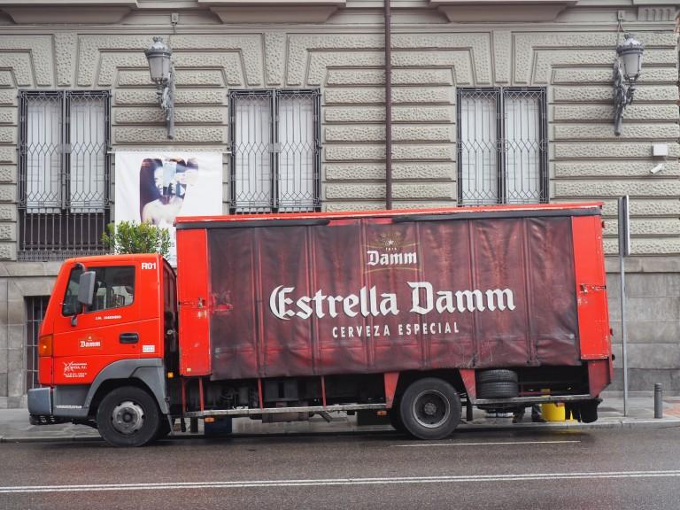 Estrella Damm Cerveza Especial beer truck in Madrid