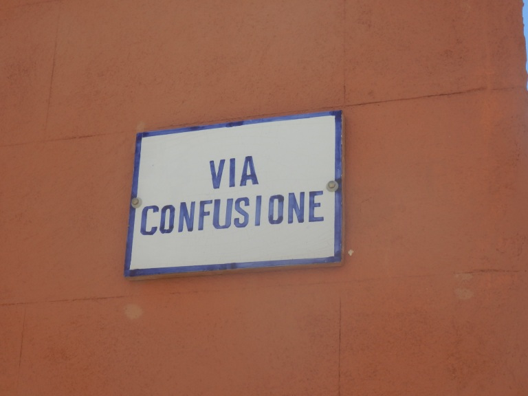 Via Confusione street signin Ustica, Sicily
