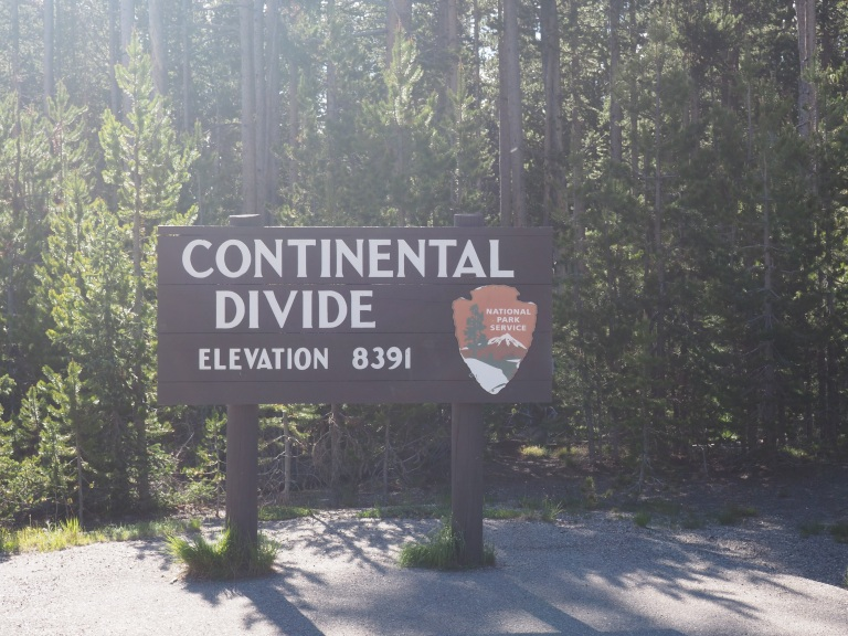 Continental divide sign Yellowstone National Park