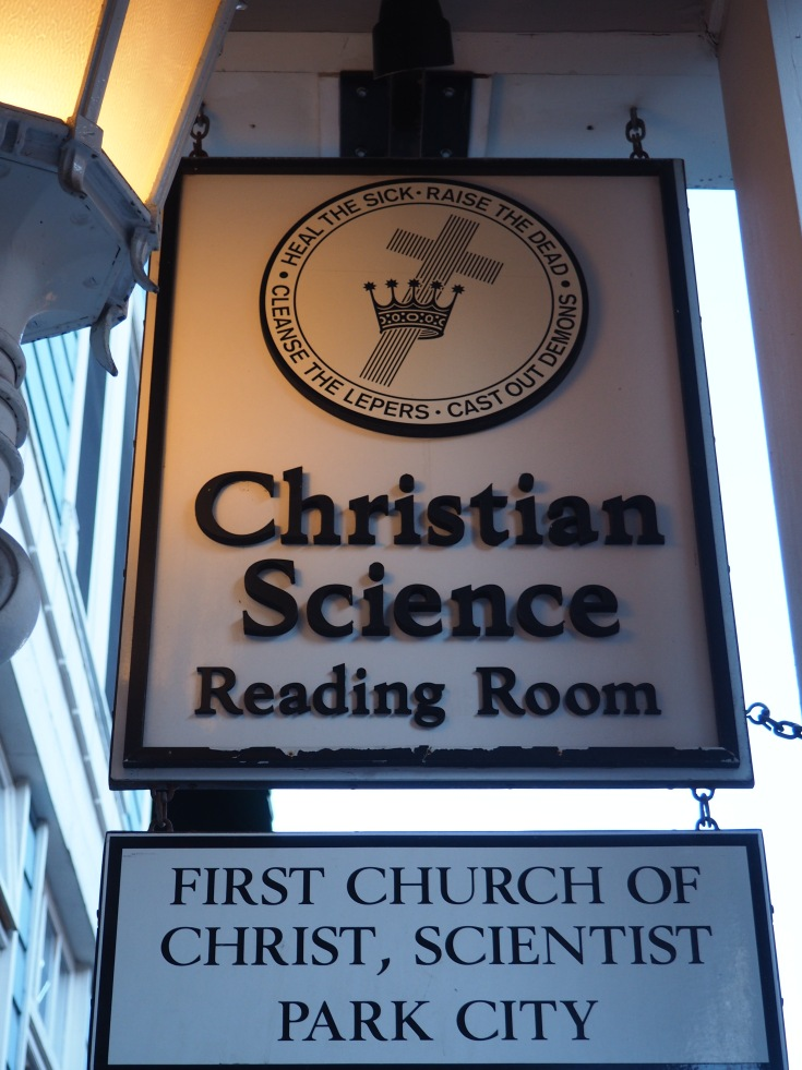 Christian Science reading room sign with motto in Park City, Utah