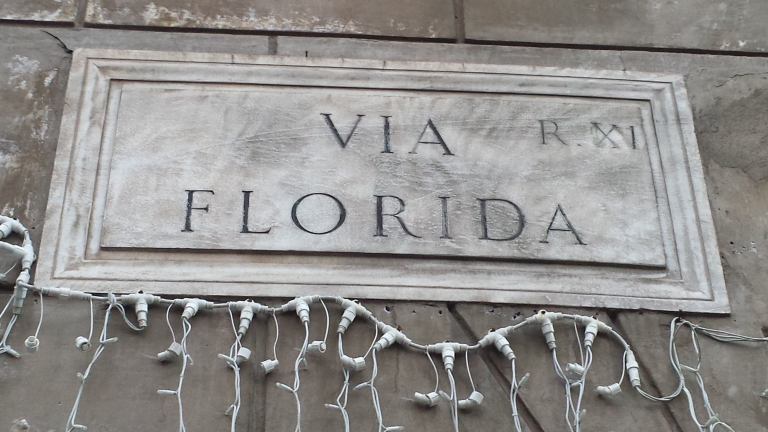 Via Florida street sign in Rome, Italy