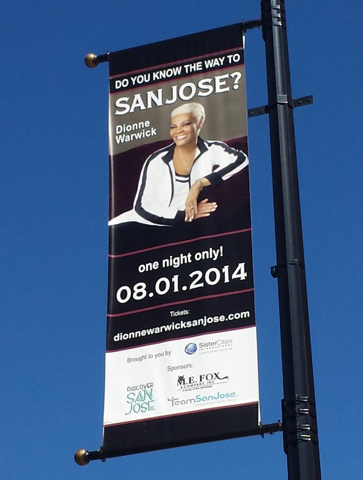 Do you know the way to San Jose Dionne Warwick concert sign