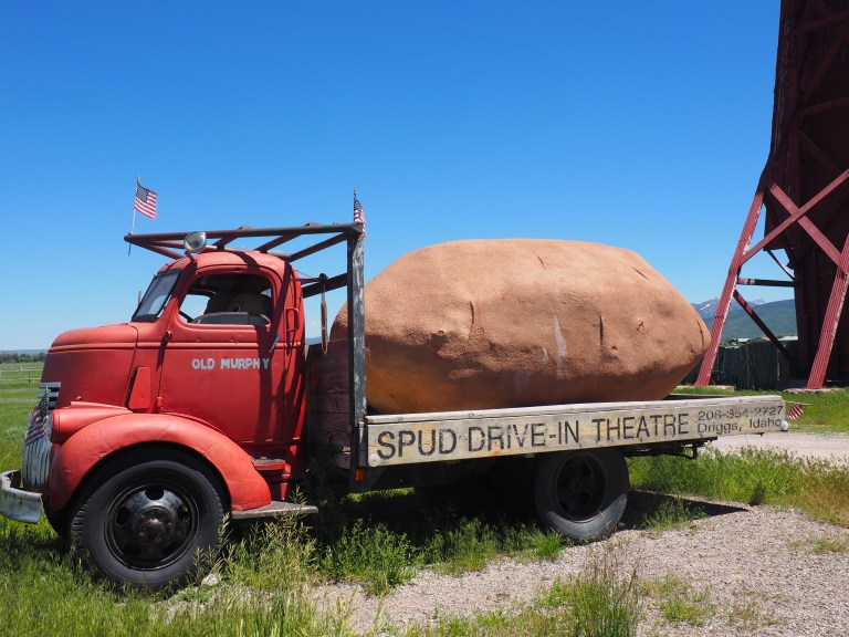 Potato on truck at the Spud drive in theatre Driggs Idaho