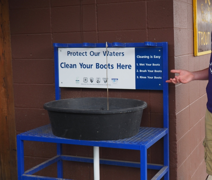 Clean your boots here sign