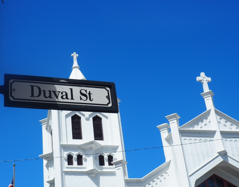 Duval Street sign in front of St Paul's Episcopal Church in Key West