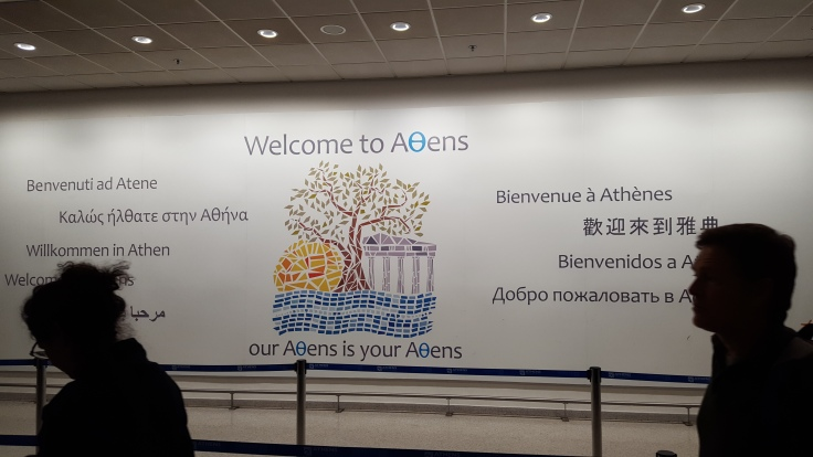 Welcome to Athens sign Athens International Airport ATH Greece