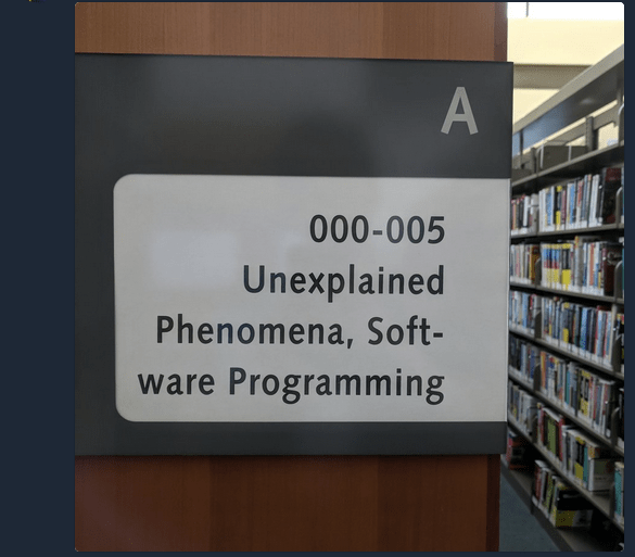 library sign unexplained phenomena software engineering